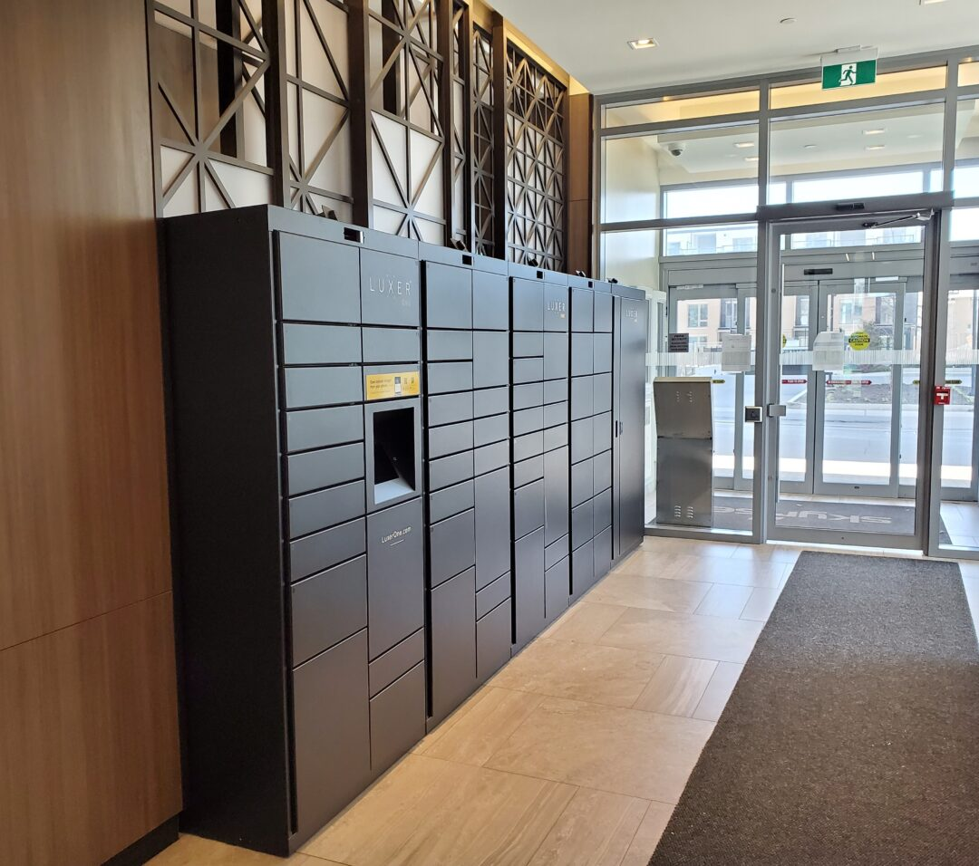Lockourier package lockers at Skyrise Rentals Daniels Gateway Mississauga